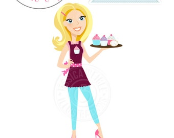 Blonde Sassy Baker Character Illustration - Full Illustration Woman Holding Tray of Cupcakes, Baking Character, Apron