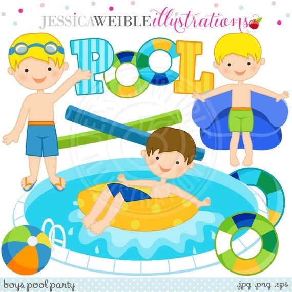 Boys Pool Party Cute Digital Clip Art - Commercial Use Ok - Summer Swimming Pool Party Graphics