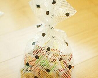 20 White Mesh & Black Dot Cellophane Bags - L size (6.3 x 10.2in)