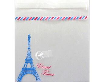 20 Paris Eiffel Tower Self Sealing Cellophane Bags (5.1 x 5.1in)