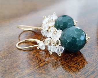 Natural Quartz and Jade w Gold Fill Wire Wrap Drop Earrings