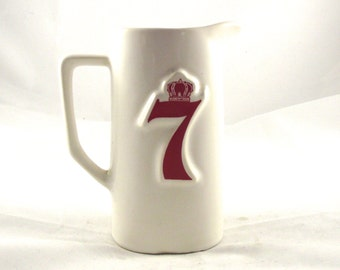 Seagram's 7 Pitcher, Vintage Barware Whiskey Decanter in White and Red