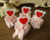 Mini heart jewelry gift boxes paper mache pink glitter boxes party favor boxes gift for friend jewelry box keepsake box Shabby Chic