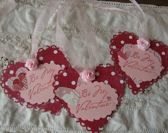 Valentine's Day Gift tags By My Valentine Heart paper tags pink white Red polka dots Valentine gifts paper art tags Heart shape tags