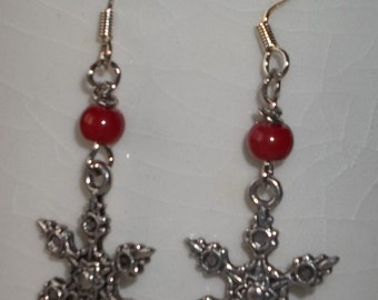 Silver Metal Snowflake Earrings with red coral
