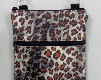 Cross Body BAG, Small Shoulder Purse, Sling BAG, Travel Purse,  Zippered Purse, Animal Print, Leopard Print