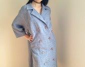 vintage plus size coat military double breasted spring slate blue