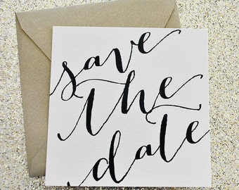Astoria Wedding Invitation Save the Date printed on both sides - Ivory, Black and Gold  CUSTOMIZABLE