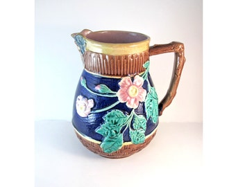 Majolica Butterfly Lip Pitcher Cobalt Blue Antique