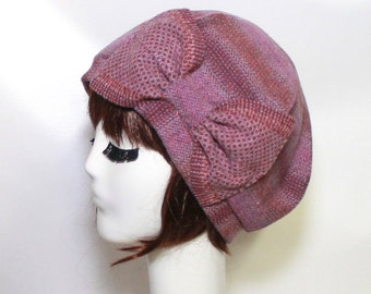 Pink Beret Hat Bow, Striped Wool Beret Hat Bow, Wool Beret Hat Bow, Winter Beret Hat Bow