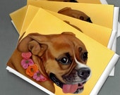 Boxer Dog Cards - 4 Pack - Boxer  Note Cards - Dog Art Note Cards - 10% Benefits Animal Rescue