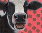 Cow Magnet - Stocking Stuffer - Large Vinyl Black and White Cow Magnet - Funny Cow Art - Laughing Cow Magnet - 10% benefits animal rescue