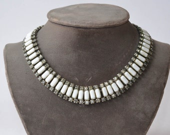 Rhinestone and Milk Glass Necklace Vintage Wedding Choker Elegant Statement Necklace