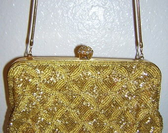 Magnificent Vintage Gold Beaded Evening Purse