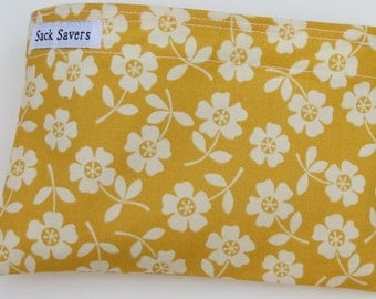 Reusable Eco Friendly Sandwich or Snack Bag October Afternoon Yellow Floral