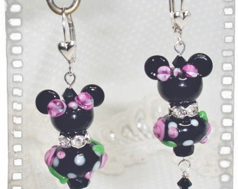 Girl Mouse SRA Lampwork with Swarovski elements and adorable 925 SS Heart leverback Earrings