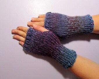 Fingerless Gloves - Blue & Purple Mix Hand Knit Fingerless Gloves