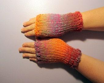 Fingerless Gloves - Orange, Pink, Purple, Green Mix Hand Knit Fingerless Gloves