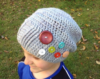 Grey slouch hat, Grey ribbed hat, grey button hat, Childs slouch hat, toddler slouch hat, slouchy hat, slouch hat, oversized hat,