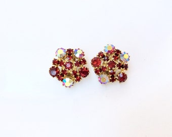 vintage red rhinestones earrings AB aurora borealis effect clip on costume jewelry