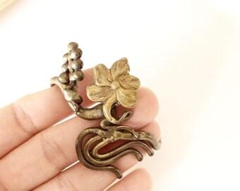 vintage Artisan brutalist  bracelet solid brass handmade cuff bracelet