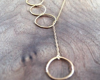 Gold Lariat Necklace - Long with Circles