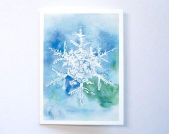 Snowflake Watercolor Christmas Card - 5 x 7 - Watercolor Painting - Holiday Card