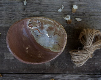 SALE Handmade ceramic trinket dish in mauve and ochre beige