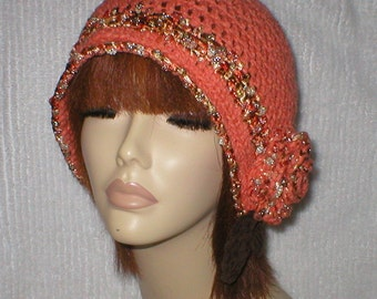 Crochet Women Teens Ember Glow Rose 1920's Cloche Flapper Hat