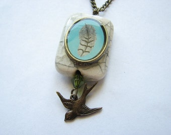 Sideways feather necklace | stone pendant | flying bird