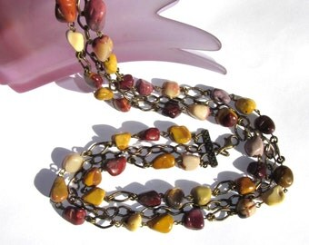 Boho Style Necklace Moukite Jasper Stones and Antiqued Brass chain