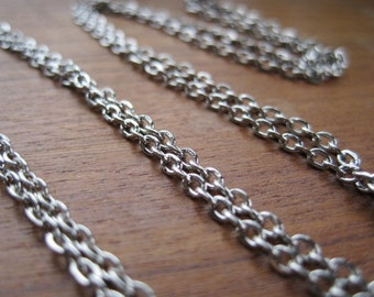 """Long 2mm Silver Plate Chain with Spring Ring Clasp 24""""-30"""" Assembled to Order"""