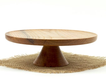 Wooden Hickory Cake Stand  / Pedestal Cake Plate /Cupcake Stand