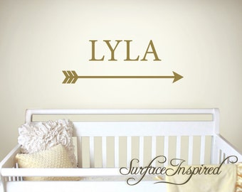 Nursery Wall Decals Personalized Names Lyla name decal with an arrow decal. Custom made name wall decals for boys and girls rooms