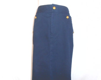 Vintage Ralph Lauren Womens Skirts Vintage Skirt Navy Blue Pencil Skirt Womens Vintage Clothing