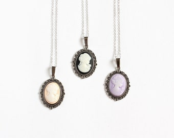 Small Cameo Necklace (Nude or Black or Purple)