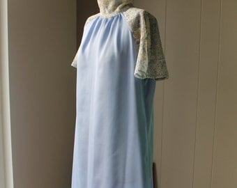 Sky Blue Yoryu Shift Dress Silk Poly Party Dress with Soft Rayon Lace High Collar and Flutter Sleeves