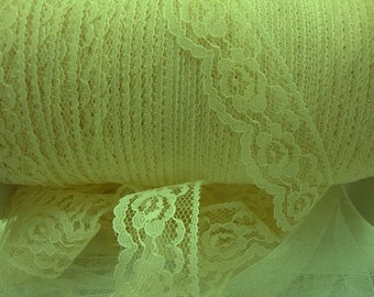 "15 yards 1"" width ( 25 mm ) beautiful roses scalloped natural lace trim"