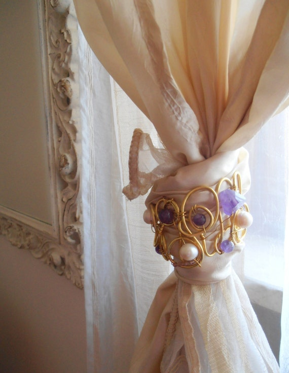 Decorative Curtain Tiebacks Golden With Stones And Pearls Drapery Holder Tie Backs Curtain