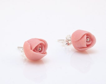 Dusty Pink Roses Earrings , Porcelain Flowers Sterling Silver Stud Earrings , Post Earrings Wedding, Handmade Fashion Ceramic Jewelry