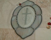 Stained Glass WEDDING Oval with CROSS & RINGS suncatcher or panel