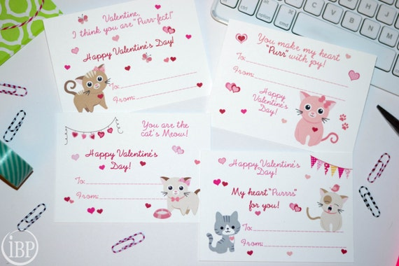 Happy Kitty Valentines Day classroom cards