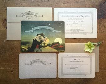 Romantic Wedding iInvitation, Wedding Invitation Set, Unique Wedding Invitation, Vintage Wedding, Victorian Moon Invitation, Lover's Moon