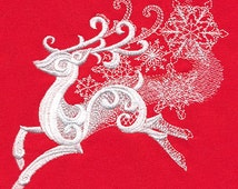 Reindeer in Festive Flight Embroidered 100% Cotton Kitchen Towel, Holiday Reindeer