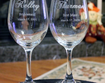 4 Wine Glasses, Wedding Party, Engraved, Personalized Wine Glasses