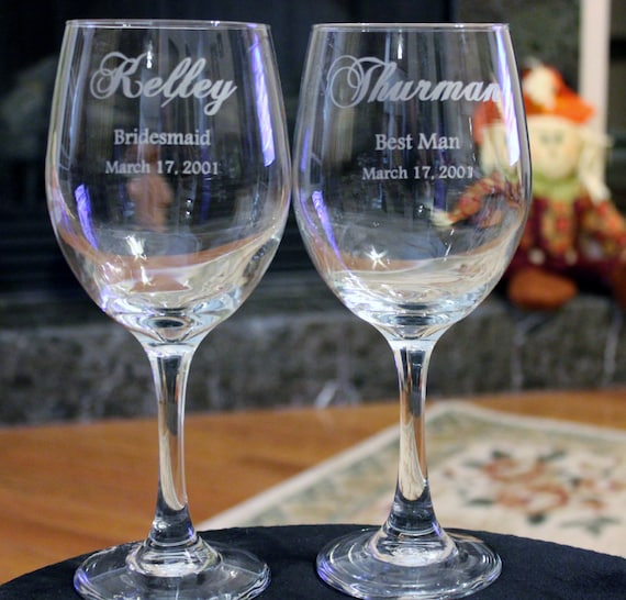 Printed Wedding Wine Glasses : Wine Glasses, Wedding Party, Engraved, Personalized Wine Glasses