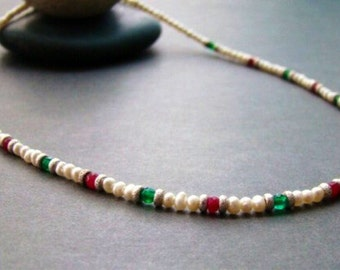 Sale OOAK Pearl Ruby Emerald Silver Necklace