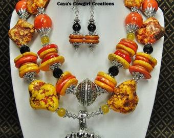 COWGIRL WESTERN CHUNKY Necklace Set / Rodeo Statement Bold Orange Jewelry - ORaNGe RoDeO FuN
