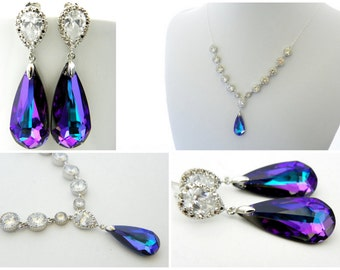 Purple Bridal Earrings and Necklace Set, Bridal Statement Earrings, Peacock Wedding Earring, Crystal Bridal Necklace, Cubic Zirconia Jewelry