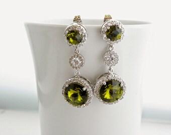 Olivine Green Earrings, Green Swarovski Earrings,  Crystal Bridal Earrings, Green Wedding, Bridesmaid Jewelry, Round Drop Earrings.